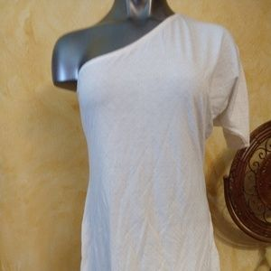 Bebe.. Gold studded one sided arm blouse shirt L